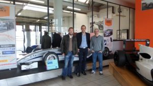 Patrick Lemarié, Bertrand Decoster and Jacques Villeneuve in the Mygale factory