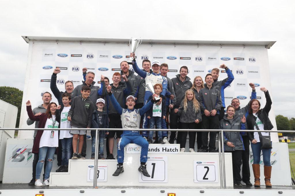 Kiern Jewiss and his Double R team celebrate winning the F4 British Championship