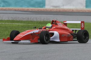 Jordan Love testing the Formula 4 car after wining the overall championship of Asia Cup Series held at the Sepang Circuit on December 13, 2015 in Kuala Lumpur, Malaysia. (Photo by Hazrin CRIC/Meritus)